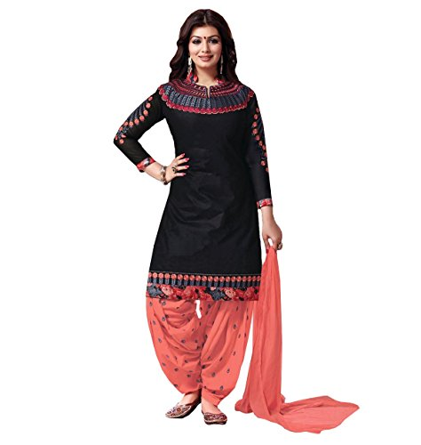 Crazy Women's Embroidered Pure Cotton Semi Stitched Patiala Salwar Suits (Black, Free...