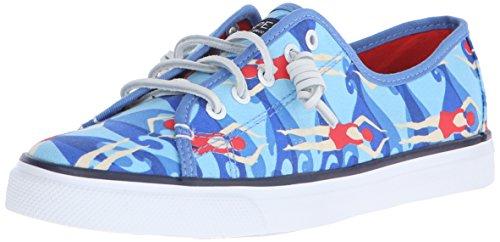 Sperry Women's Seacoast Fashion Sneaker, Blue/Orange, 7 M US (Sperry Topsider Orange)