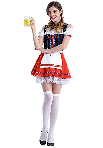 XFentech Frauen Halloween Oktoberfest Parteien Kostüm Bier Maid Uniform Cosplay Outfit Frech Kleid mit 5 Arten, Stil-1/M (Bier-halloween-kostüme)