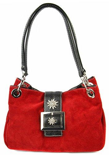 Wildleder Trachten Handtasche mit Edelweiß Rot - Sehr schöne Tasche zu Dirndl und Lederhose