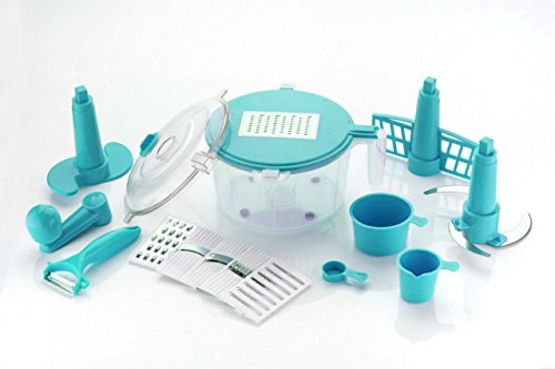 Slings 14 Pieces Manual Food Processor - Chopper, Grater, Cutter, Slicer, Dicer, Blender, Atta Maker, Dough Kneader, Peeler - Blue  available at amazon for Rs.325
