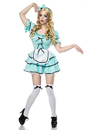 Damen Halloween Horror Geister Puppen Verkleidung aus Perücke, Kleid, Schürze, Harreif, Stockings OneSize XS-M (Schwarz Und Weiß Puppe Halloween Kostüm)
