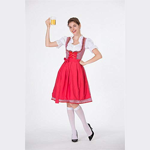 Wench Kostüm Shirt - MFBis Oktoberfest Damenkostüm Deutsches Bayerisches Biermädchen Drindl Tavern Wench Partykostüm,red,XL