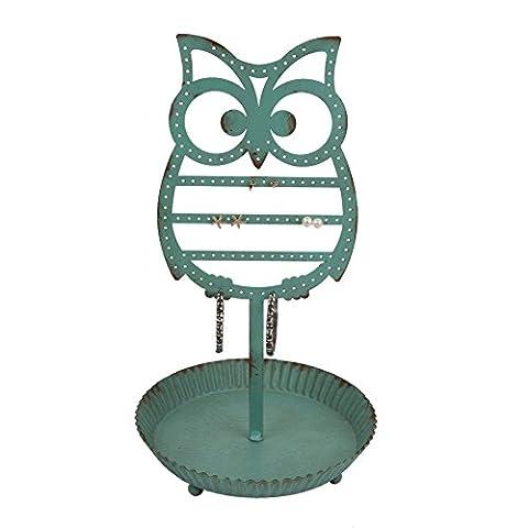 NIKKY HOME Bijoux Display Hanger Jewelry stand Holder rack en métal Owl Crochets pour boucles d'oreilles Collier Bracelets Organizer Vintage Decor Distressed vert