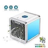 Fitfirst Luftkühler Mini tragbare Mobile Klimageräte Verdampfend Air Cooler, 3 in 1 Luftkühler, Luftbefeuchter und Luftreiniger, Tischklimaanlage Ventilator mit 7 Farben LED Nachtlicht