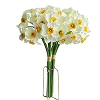 MUFEN 12PCS Artificial Daffodil Tulips Flowers Yellow Spring DIY Silk Flower Arrangement (White)