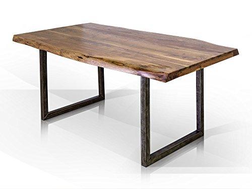 moebel-eins GERA Baumkantenesstisch Esstisch Holztisch Akazie Metallfuß schwarz lackiert, 180x90 cm