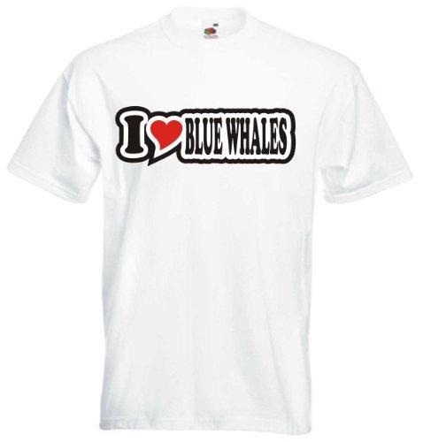 T-Shirt Herren - I Love Heart - I LOVE BLUE WHALES Weiß