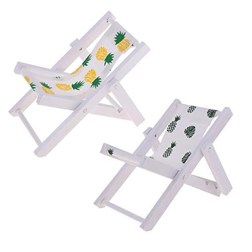 Traditionelle Outdoor-deck (Fenteer 2pcs Mini Faltbarer Campingstuhl Strandstuhl Outdoor Stuhl für 1: 6 Puppenstuben Garten Deko Zubehör)