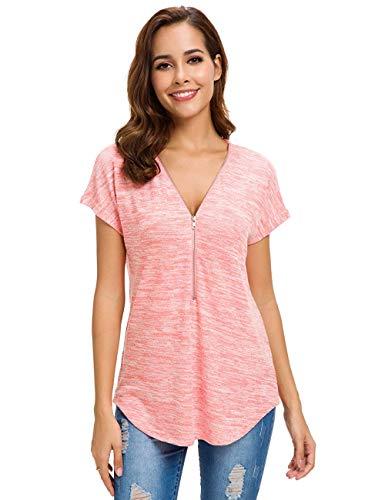 V Ausschnitt Kurzarm Tops Tunika Casual T Shirts Bluse mit Reißverschluss Rose L ()
