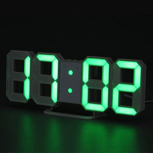 LED Digitale Wanduhr Tischuhr Nachttisch Uhr mit LED Anzeige, Wand Wecker mit modernen Zahlen Design, Helligkeit Einstellbar, 3D-Display, Grün (Wand-uhr)