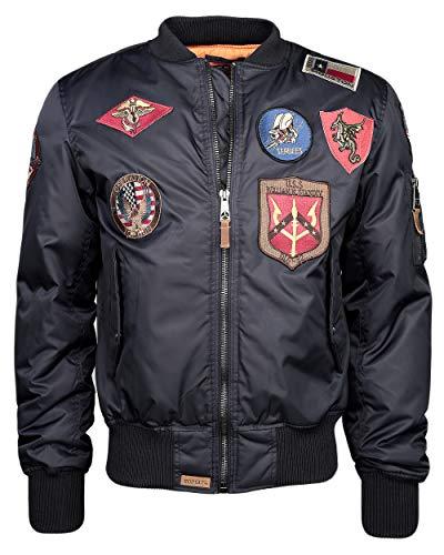 Top Gun Herren Bomberjacke Im Pilotenstil Mit Patches Patch Navy,XL (Cruise Navy Patches)