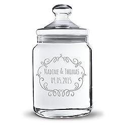 Personello® Keksglas mit Gravur, mit Wunsch-Namen und Datum personalisierbar (viele Motive), originelles Geschenk für Verliebte, zur Hochzeit oder Tisch-deko (z.b. Candybar) (groß = 25cm)