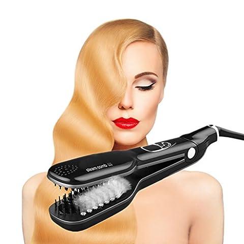 Professional Steam Hair Straightening Brush & Flat Iron Vapor 100V-240V Pro Steampod PTC Ceramic Heating 3D Protection, LCDDisplay (Black)