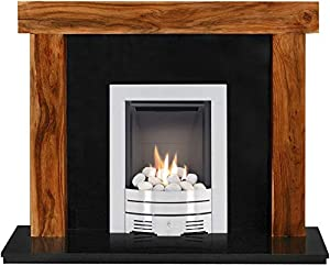 The Fenchurch Acacia & Black Granite with Crystal Diamond Contemporary Fire Brushed Steel, 54 Inch
