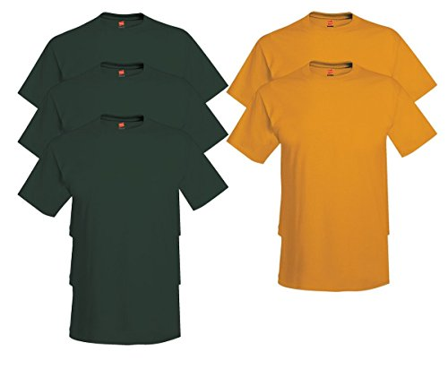 Hanes Comfort Soft Crew Neck 5 Pack Tee (Pack of 5) 3 Deep Forest / 2 Gold