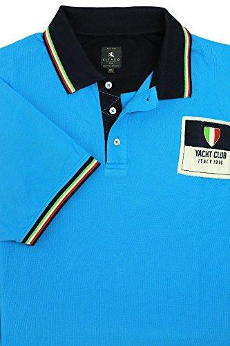 Kitaro Polo Poloshirt Herren Kurzarm Extra Lang Tall Blau