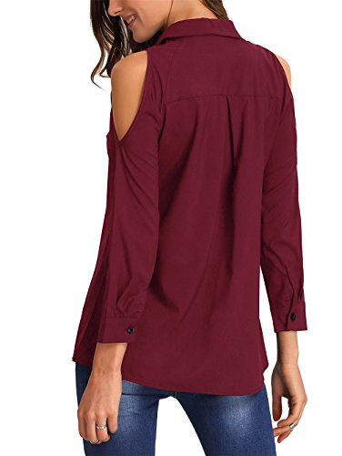 ELFIN® Damen Bluse Cold Shoulder Cut Out Hemdbluse Modern Loose Fit Langarm Oberteile Wine Rot