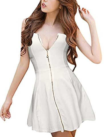 Allegra K Women's Strapless Exposed Zipper Front Mini A-Line Dress S White
