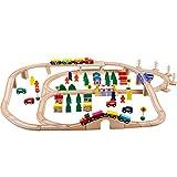 ZMH 100Pcs DIY en Bois Train De Chemin De Fer Set Puzzle en Bois Train De Construction Miniature Assemblés De Voie Ferrée Jouets Cadeaux pour Enfants Jouets