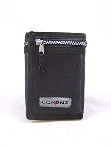 NEW MENS BOYS TRIFOLD SPORTS WALLET ZIP AND CHAIN HOOK (Black)