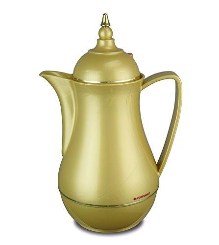 Rotpunkt Isolierkanne 911 1,0 l (golden sepp) | Doppelwandige Vakuumisolierung | Zweifunktions-Drehverschluss | BPA Frei- gesundes Trinken | Made in Germany | Warm + Kalthaltung | Glaseinsatz