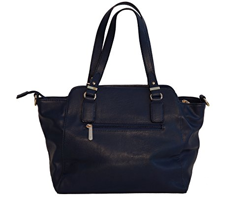 Borsa donna David Jones in ecopelle con manici e tracolla blu scuro