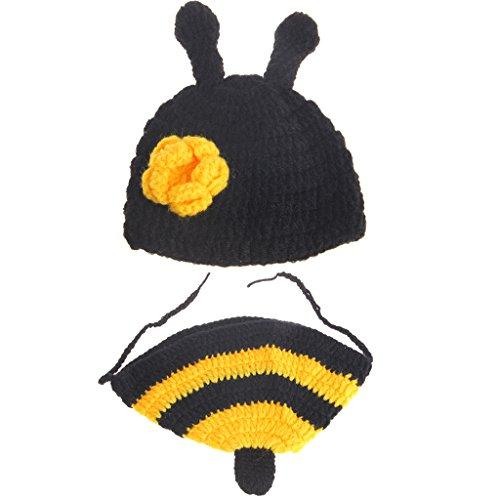 Xurgm Neugeborenen Fotoshooting Kostüm Junge Mädchen Biene Mützen Fotographie Prop Crochet Geschenk Baby Kleidung neuborn - Baby Mädchen Biene Kostüm