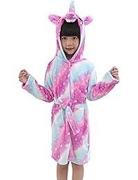 OKSakady Camisón con Capucha para niños Unicorn, Kid Franela Unisex Arco Iris Estrella Ropa de Dormir Animal Cosplay Traje de Dibujos Animados Homewear Pijamas para Niño Niña