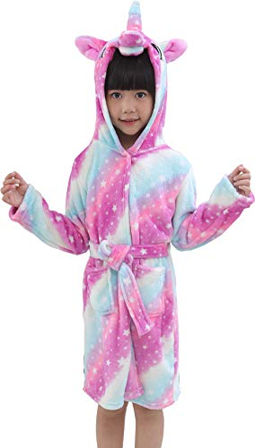 OKSakady Kinder Unicorn mit Kapuze Nachthemd, Kind Unisex Flanell Regenbogen Star Nachtwäsche Tier Cosplay Cartoon Kostüm Homewear Pyjamas für Junge Mädchen (Rosa, 130 (für Höhe: 120-130))