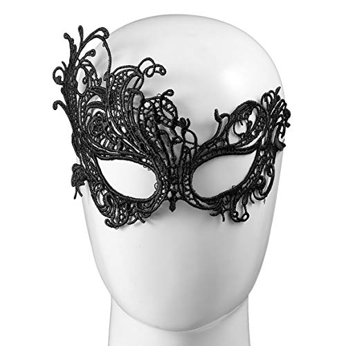 gel Stil Sexy Mädchen Damen Frauen Spitze Party Gesicht Make-Up Maske Party Halloween Party Kleid Kostüm Zubehör (schwarz) ()
