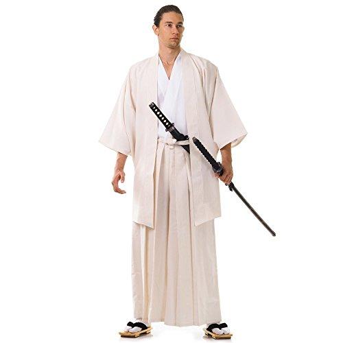 Japan Samurai Kimono Set 3 Teile Kendo Gi + Hakama + Haori Baumwolle M L XL (Creme & Weiß) (Kimono Creme)