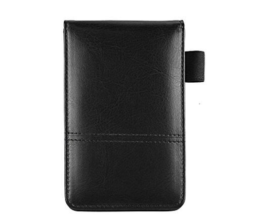 Deluxe Leder-notebook (sayeec A7Deluxe Leder Pocket Notebook Jotter Organizer Memo Pad Halter mit Taschenrechner für Trader/Studenten/Reisen Sales REP, auswechselbare Pad, 60Seiten Schwarz)