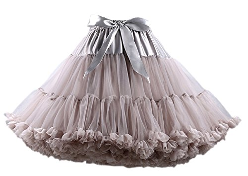 (Honeystore Tanzkleid Ballettrock Kinder Mädchen Damen Tutu Rock Schleife Pettiskirt für Show Party Cosplay Grau One Size)