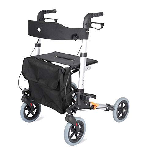 Zusammenklappbarer Mobility Walker, Medical Rollator Faltbarer Walker Mit Sitz, Tasche Und...