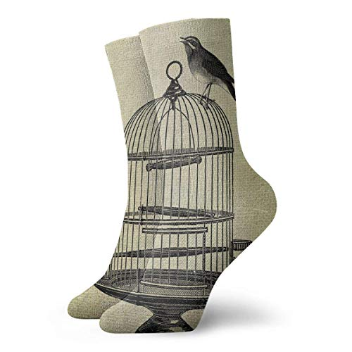 Knit Tall Boots (Brown Paper Birdcage Classic Crew Socks Flat Knit Casual Athletic Stoking 30CM Soft)