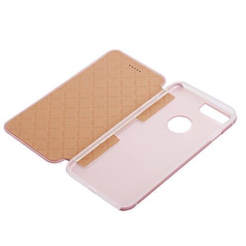 Binli Cuir Véritable Flipcase iPhone 7 Plus OKCS Protection Case Cover Hard Cover Back TPU - en Pink Rosa Pink