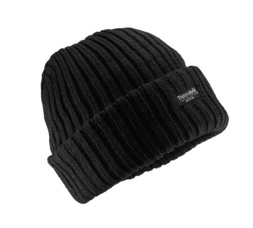 Grobgestrickte Mütze mit Thinsulate Futter in 5 Farben, Farbe:schwarz