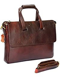 "Stylish 15""Genuine Pure Leather Laptop Sleeve Messenger Office Bag With Shoulder Strap By-Widnes"