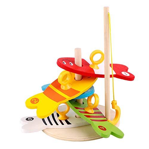 Wokee Bad Angeln Spielzeug mit Schwimmenden Baby Kinder Angeln Nest Spiel Digital Angeln Holz Angeln Sets pädagogisches Spielzeug Fisch Badespaß Zeit, Fangen Sie Niedlichen Fisch