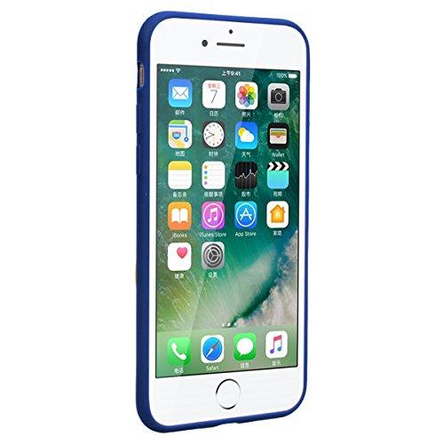 Yokata Cover per iPhone 7 Silicone Disegni Rigida Case Originale Fantasia Divertenti Caso Custodia gel Gomma TPU Morbido Ultra Slim Impermeabile Antiurto Protettiva Shell + Penna - Blu Unicorno Blu Frasi