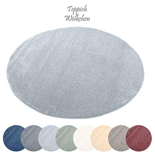 Designer-Teppich Pastell Kollektion | Flauschige Flachflor Teppiche fürs Wohnzimmer, Esszimmer, Schlafzimmer oder Kinderzimmer | Einfarbig, Schadstoffgeprüft (Grau, 120 cm rund)