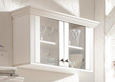 Vitrine en pin laqué blanc,, placard, vitrine murale