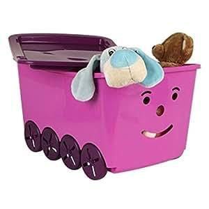Spielzeugkiste, Spielkiste mit Rollen und Deckel nur noch Blau oder Lila nicht wählbar