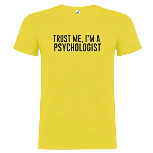 Bikerella T-shirt manica corta Unisex Trust Me I am a Psychologist by Giallo/Nero