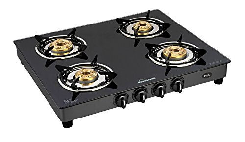Sunflame GT Pride 4 Burner Glass Top Gas Stove, Black (2 Year Warranty)