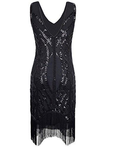 Kayamiya Damen Retro 20er Paillette Perlen Art Deco Franse Gatsby Flapper Kleid Herrlich Schwarz