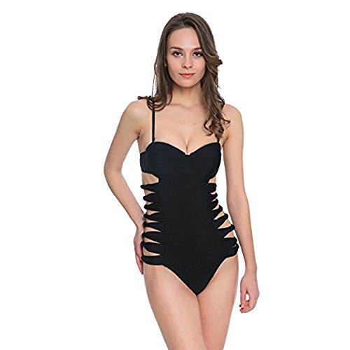 Damen Badeanzug WANGXN One Piece Schwimmen Kostüm Sling Bikini Schwarz , black , (Zweiten Neopren Kostüme)