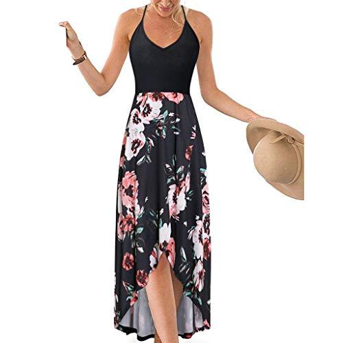 Frauen böhmischen Kleid Lady Patchwork Print Kleid Frauen V-Ausschnitt hängen Bandbreite Größe Strandkleid Spitze off-Shoulder rückenfreier Druck wellig langes Kleid Cocktailkleid einfarbig Kleid -