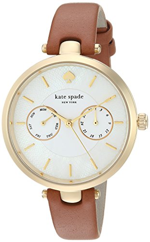 Kate Spade New York Women's 'Holland' Quartz Stainless Steel and Leather Casual Watch, Color Brown (Model: KSW1399)